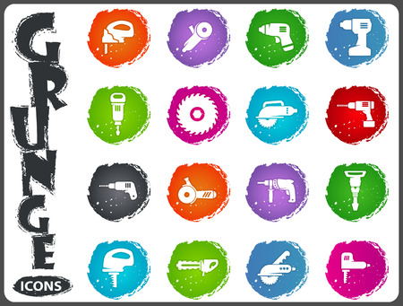 Power tools icon set for web sites and user interface Illustration