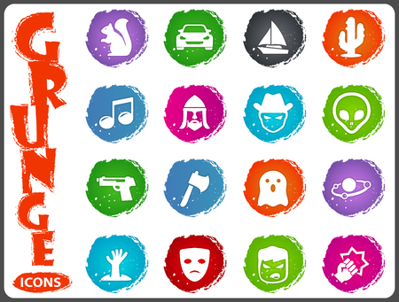 Set of movie genres black icons isolated on white. Vector illustration in grunge style