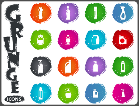 Household chemicals icon set for web sites and user interface in grunge style