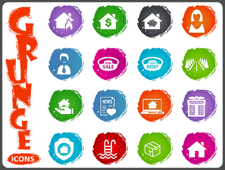 house for sale: Real estate icons set for web sites and user interface in grunge style Illustration