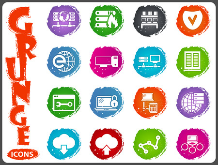 network icon set for web sites and user interface in grunge style Illustration