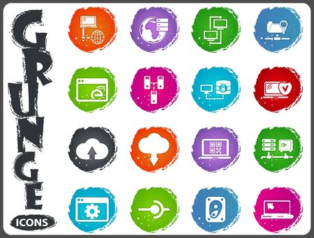hard drive: network icon set for web sites and user interface in grunge style Illustration
