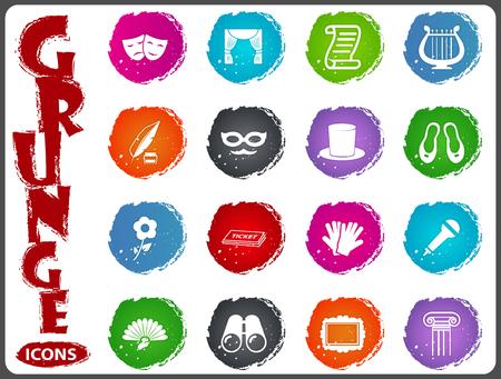 Theater symbool iconen voor gebruikersinterface ontwerp Stock Illustratie