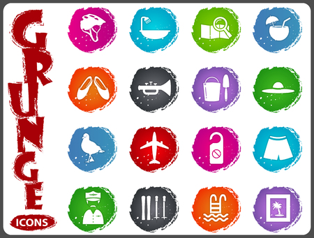 Travel icon set for web sites and user interface in grunge style