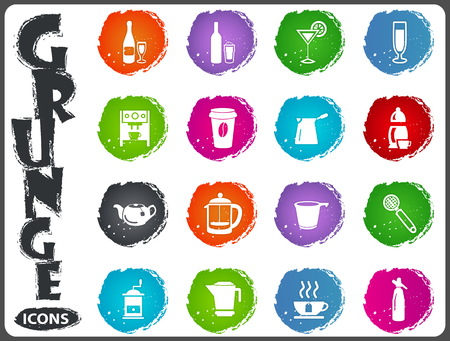 Utensils for the preparation of beverages icon set for web sites and user interface in grunge style