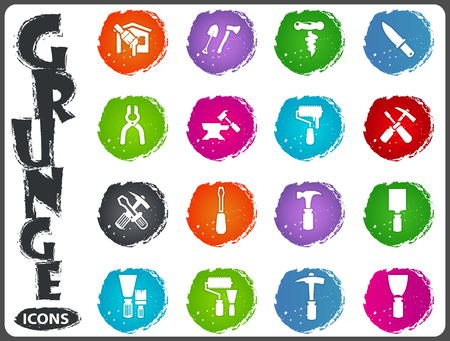 anvil: Work tools icon set for web sites and user interface in grunge style Illustration