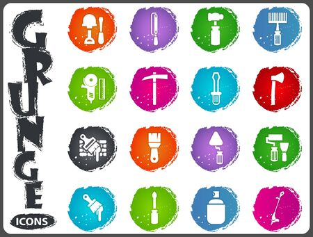 Work tools icon set for web sites and user interface in grunge style Illustration
