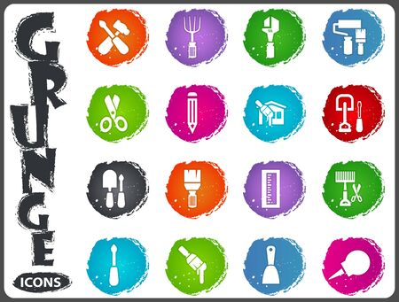 enema: Work tools icon set for web sites and user interface in grunge style Illustration