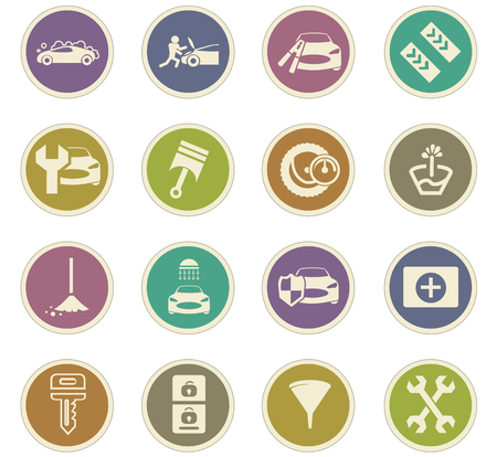 first aid kit key: Car shop icon set for web sites and user interface