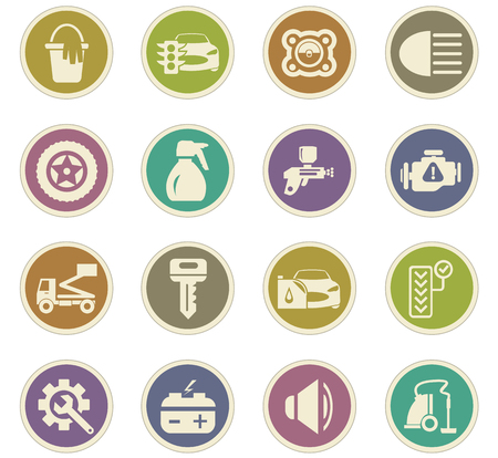 vulcanization: Car shop icon set for web sites and user interface