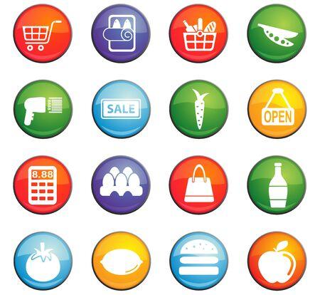 Grocery winkel vector iconen voor gebruikers interface ontwerp Stock Illustratie