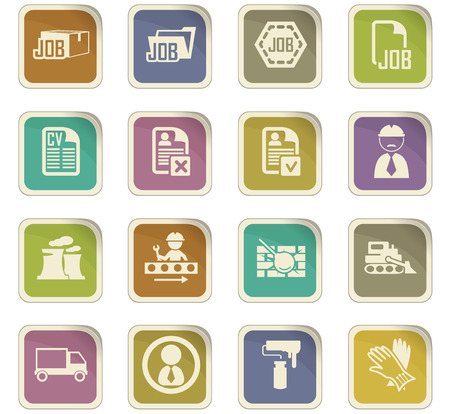 truck driver: Job icon set for web sites and user interface