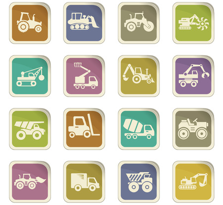 truck driver: industrial transport vector icons for user interface design Illustration