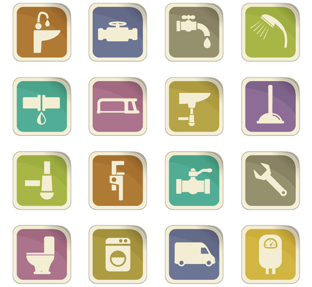 boiler: plumbing service vector icons for user interface design