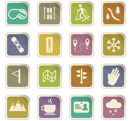 skiing vector icons for user interface design Illustration
