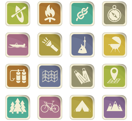 Cute active recreation vector icons for user interface design.