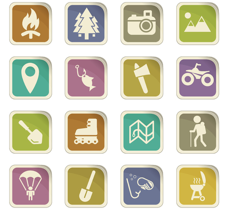 Images of active recreation vector icons for user interface design
