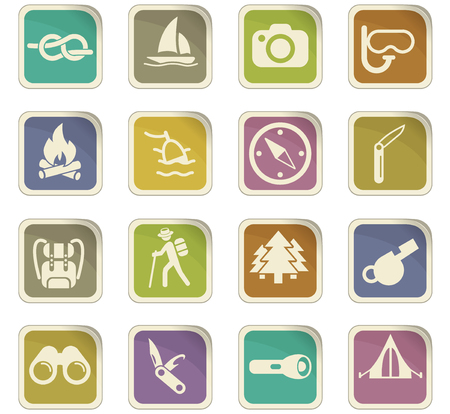 Set of active recreation vector icons for user interface design.