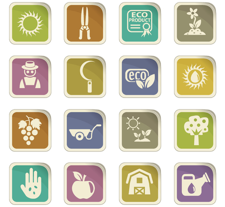 Images of agriculture vector icons for user interface design.
