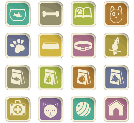 Pet and pet goods vector icons for user interface design Иллюстрация