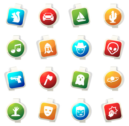 Set of movie genres color icon for web sites and user interfaces Illustration
