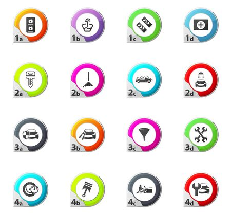 first aid kit key: Car shop web icons for user interface design Illustration