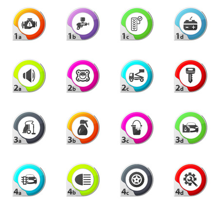 vulcanization: Car shop web icons for user interface design Illustration
