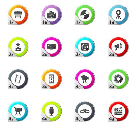 cinema screen: Cinema web icons for user interface design Illustration