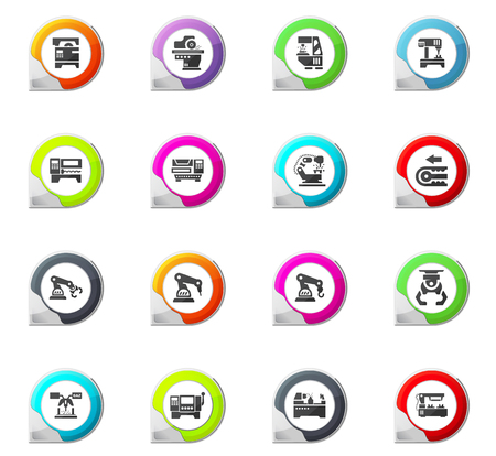 lathe: Vector machine tool icons set. Work and factorypointer on the color icons for your designlustration Illustration
