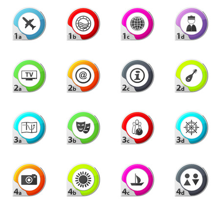 Travel web icons for user interface design