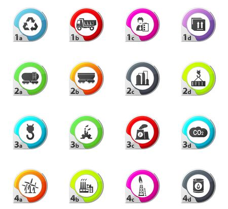oil and gas industry: Industry web icons for user interface design Stock Photo