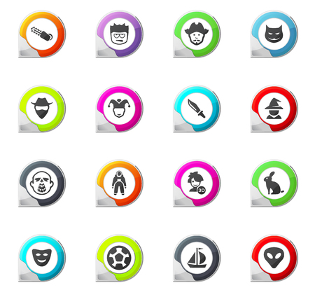 Set of movie genres pointer on the color icons for your design