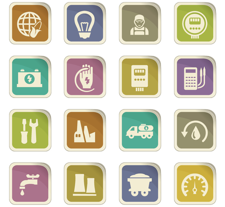 gas lamp: Alternative energy icons set for web sites and user interface