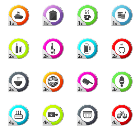 Food and kitchen web icons for user interface design Illustration