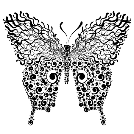 Beautiful decorative black and white fishnet butterfly, vector illustration.