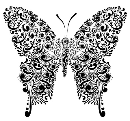 Beautiful decorative black and white fishnet butterfly vector illustration Illustration