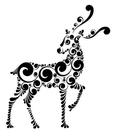 Christmas deer of Santa Claus, stylized vector illustration.