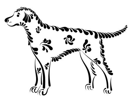 Beautiful dog waiting for the owner, decorative vector illustration Illustration