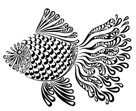Decorative image of a fantastic fishnet fish vector illustration. Çizim