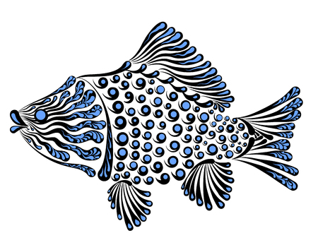 Vector illustration of a beautiful decorative fish crucian.