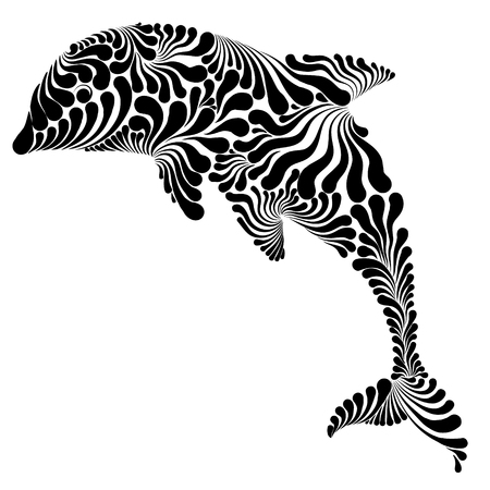 Dolphin in the jump decorative graphic vector illustration.