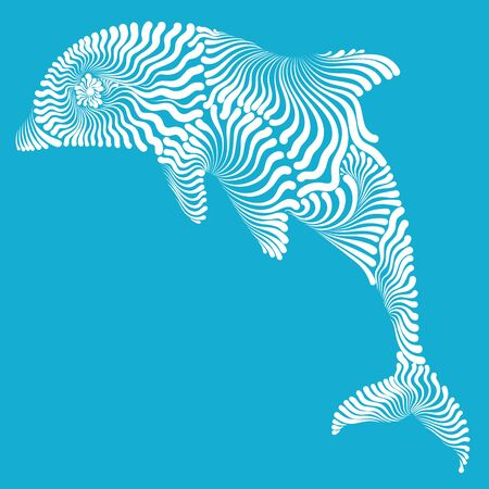 Dolphin in the jump decorative graphic illustration