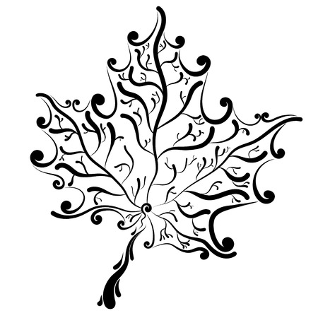 decorative graphic tree leaf maple, silhouette vector illustration