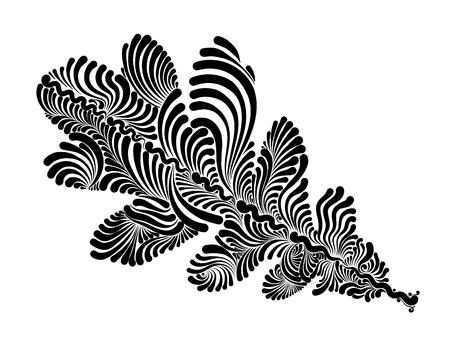 Decorative  oak leaf. Illustration