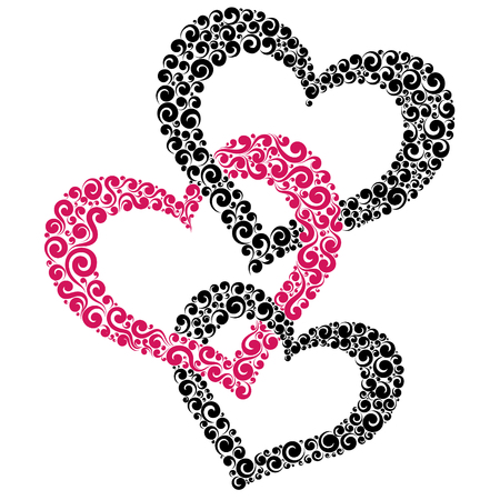 Vector illustration of three intertwined hearts, love symbol