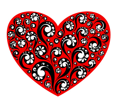 Vector illustration of red heart with decorative painting, love symbol.