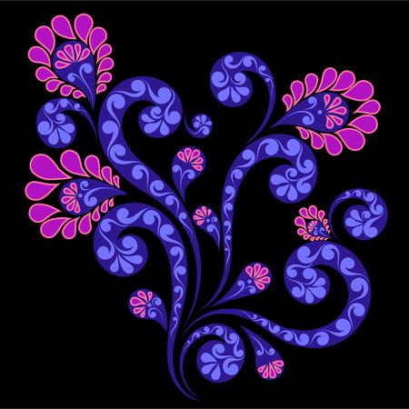 Decorative flower ornamentvector illustration on black background Illustration