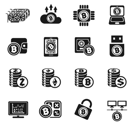 Cryptocurrency and mining icon set Illustration