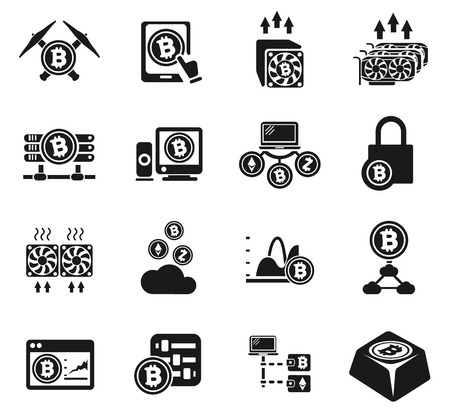 Cryptocurrency and mining icons for your design progects