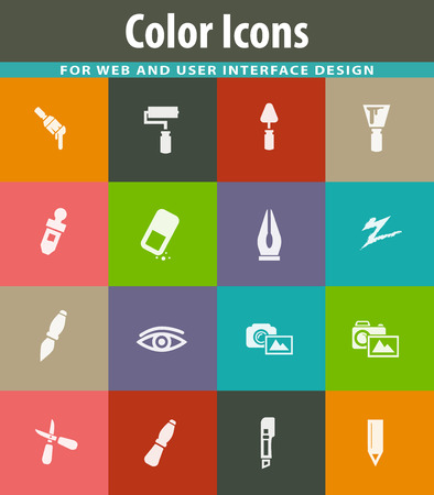 Art tools easy flat web icons for user interface design